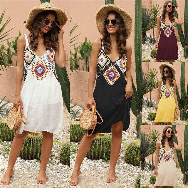Crochet Beach Cover-ups Summer Tunic Cover Up Long Knitted Beachwear Swimsuit Ups for Women Vestido Playa Mujer White Dress 2021 6