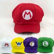 Gorra de Super sombrero de Mario y Luigi Bros, Cosplay con letras impresas, sombrero de béisbol para adultos, regalo de Juego FC para chico
