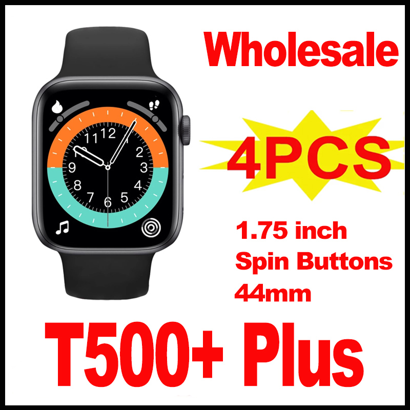 Permalink to 4Pcs Wholesale T500 Plus Smartwatch With Spin Button 1.75 Inch HD Screen 44mm Fitness Smart Watch Men Wamen For Androis IOS
