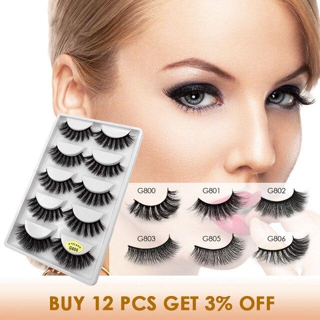 YSDO Lashes 1 box mink eyelashes natural long 3d mink lashes hand made false lashes plastic cotton stalk makeup false eyelash G8 1