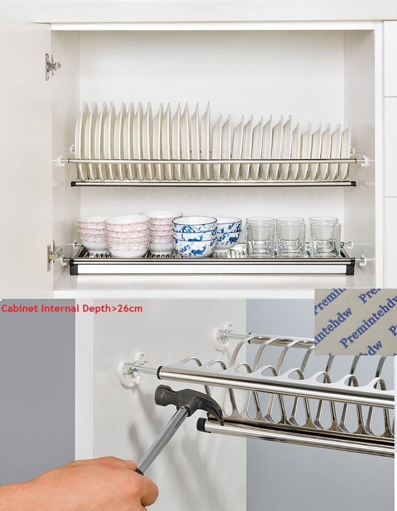 49-73cm 2 Tiers Stainless Steel Cabinet Cupboard Inside Dish Plate Tableware Drying Rack Storage Organizer  Knock On