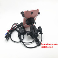 Motorcycle Smart Phone Holder Mount Stand 2 in 1 360 Degrees Rotation USB Charger for 3.5 7 inch GPS Electric Scooter