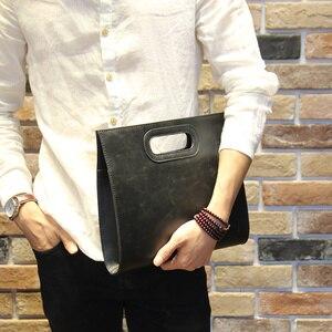 Image 3 - ビジネスカジュアル男性の革デザイナーハンドバッグ高品質男性財布有名なブランド男性の大容量クラッチバッグ茶黒