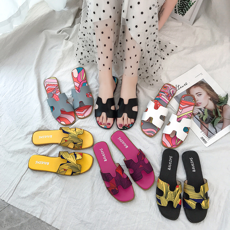 2020 Women Summer Cut Out Ladies Sandals Ladiessandals Good Quality Flat Shoe Candy Color Outdoor Holiday Slides