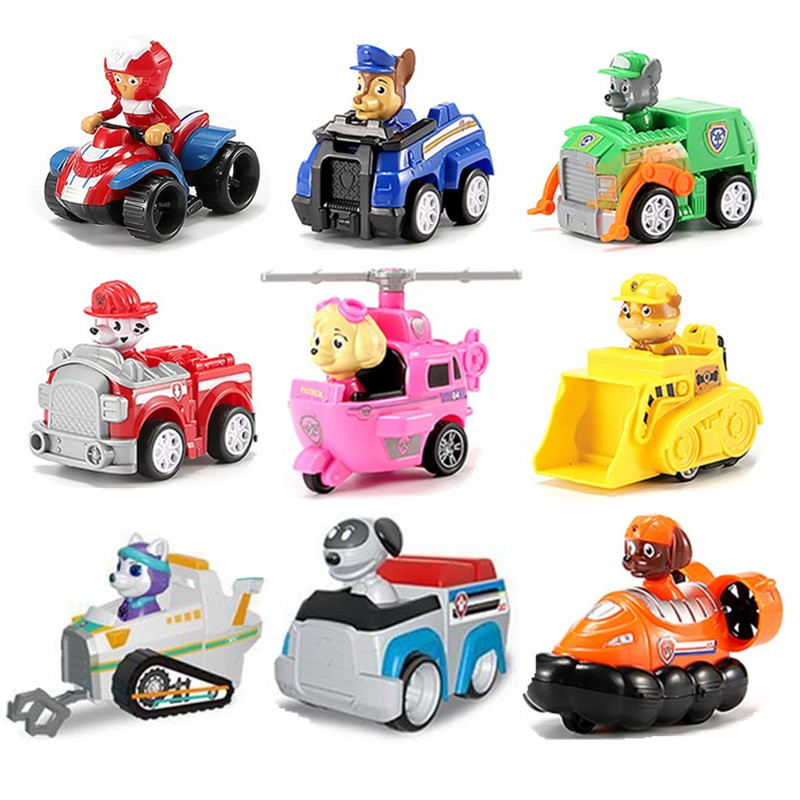 9pcs paw patrol dog rescue set puppy patrol toy car patrol dog Ryder anime action character model toy car birthday Christmasgift|Action & Toy Figures| |  - title=