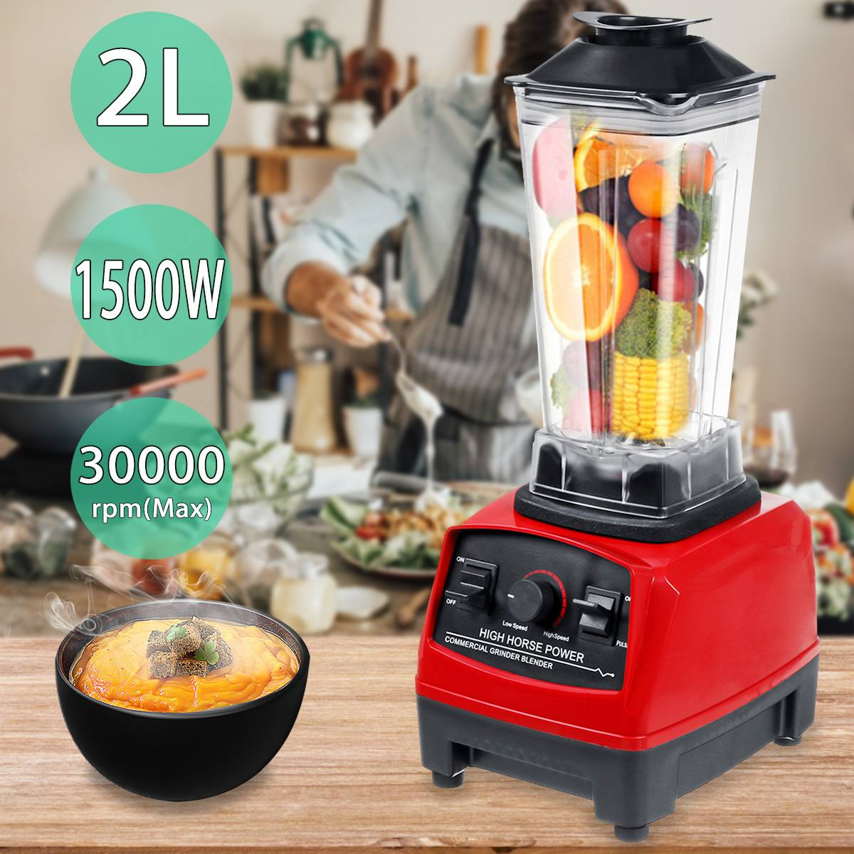2L 1500W Food Processor Blenders Mixer Juicer Adjustable Speed 6 Steel Blades Heavy Duty Fruit Juicer Food Ice Crusher Smoothies
