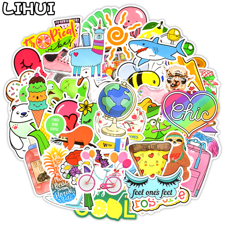 60pcs Pink kawaii Fun Stickers for DIY Decorative Laptop Suitcase Luggage Phone