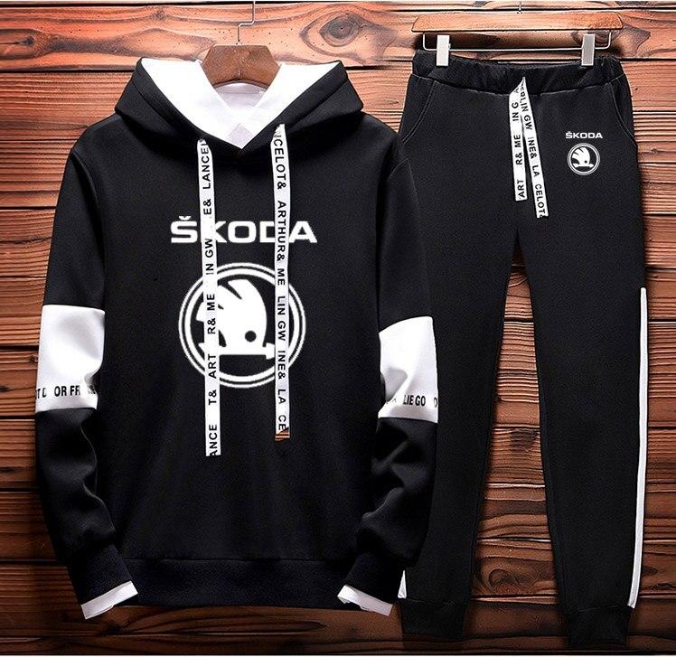 Mens Hoodies Sweatshirt Skoda Car Logo Printed Spring Autumn Hoodies+Pants 2Pcs Sporting Suit Fleece Warm Thick Sportwear