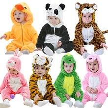 תינוק בעלי החיים פלנל Romper ילד הילדה פנדה ארנב טייגר סלעית Playsuit לדדות דינוזאור Cosplay תלבושות יוניסקס חג המולד תלבושות