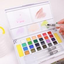 24/36 cores portáteis profissional aquarelas tintas definir curso sólido pigmento para pintura desenho com escovas de água livre