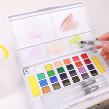 24/36 Colors Portable Professional Watercolors Paints Set Travel Solid Pigment for Painting Drawing With Free Water Brushes