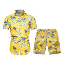 2020 Hawaiian Shirts Set Summer Men Boardshorts Gym Bermuda Swimsuit Quick Dry Print Pineapple Holiday Swimwear Sports Suits(China)