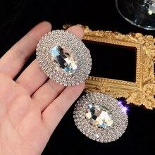AENSOA Shiny Full Crystal Gems Big Dangle Earrings For Women Fashion Luxury Rhinestone Geometric Oval Statement Earrings Jewelry
