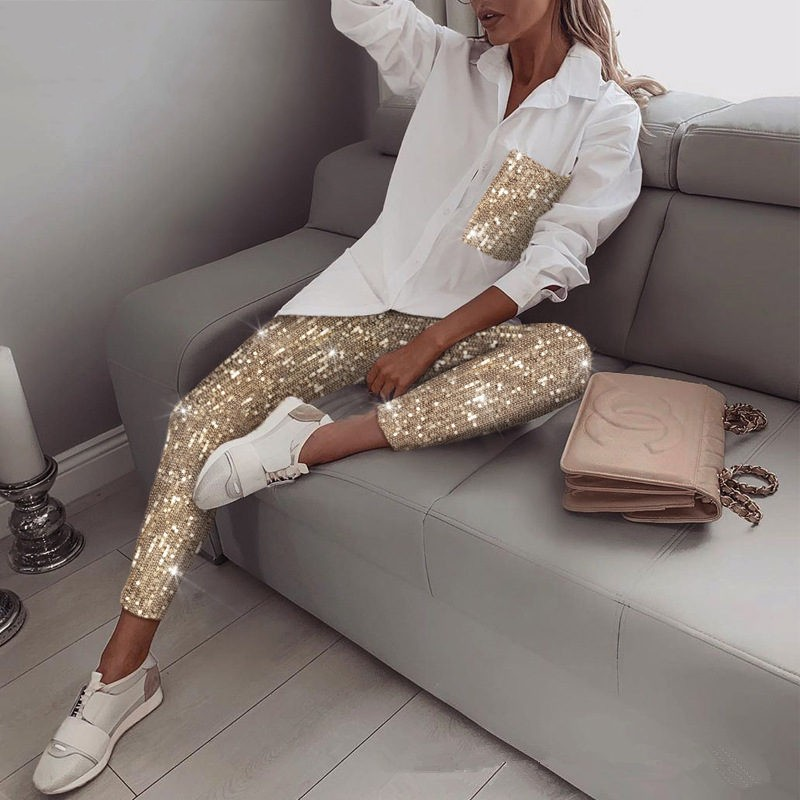 Two Piece Women Sets 2020 Fashion Sequins Long Sleeve Turn-Down Collar Top Elastic Pants Autumn Streetwear Ladies 2 Piece Sets