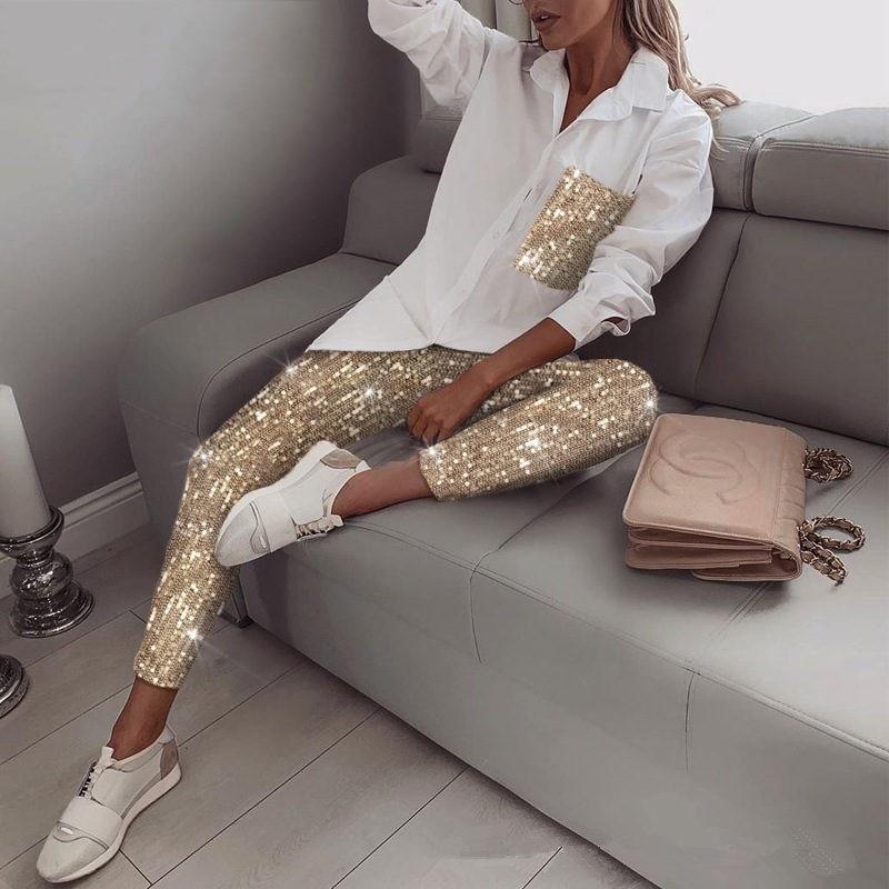 Two Piece Women Sets 2020 Fashion Sequins Long Sleeve Turn-Down Collar Top Elastic Pants Autumn Streetwear Ladies 2 Piece Sets