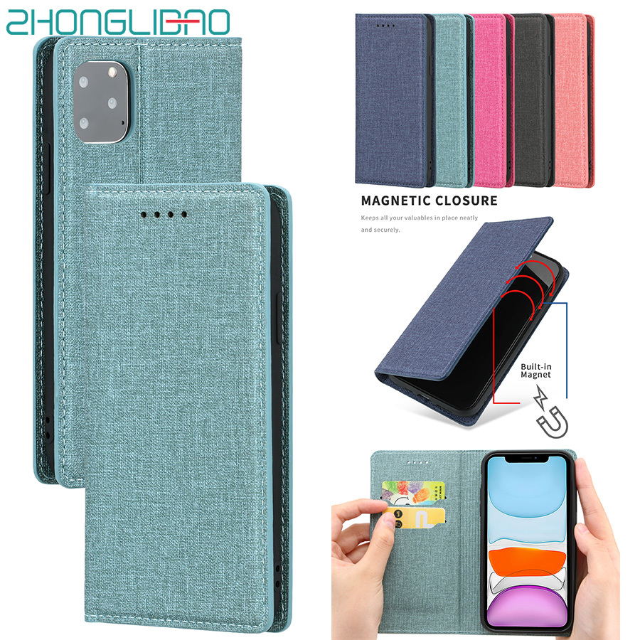 Fabric Texture Leather Case for IPhone 11 Pro Xr Xs 11pro Max X 8 7 6 6s Plus SE 2020 Magnetic Flip Wallet Book Cover Bag Pouch(China)
