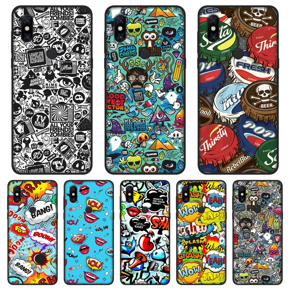 Phone <font><b>Case</b></font> For <font><b>Xiaomi</b></font> <font><b>Mi</b></font> Note 1 <font><b>2</b></font> 3 Soft Silicone <font><b>Anime</b></font> Graffiti Sticker Bomb Fashion Back Cover For <font><b>Xiaomi</b></font> <font><b>Mi</b></font> Max <font><b>Mix</b></font> 1 <font><b>2</b></font> 2S image