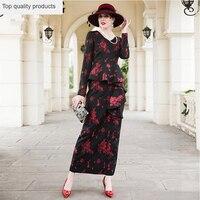 Floral Printted Dress 2020 New Women Autumn Office Business Dress Elegant Party Vestidos Plus Size Long Dress 3XL LX302