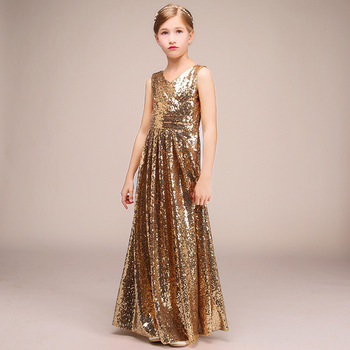 Party Formal Dress For Kids Girl Sparkly Sequins Gold Long Birthday Communion Princess Gowns Flower Girl Dresses For Wedding princess birthday costumes party flower girl dresses for wedding party elegant princess girl formal dress first communion dress