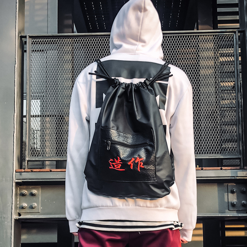 New Harajuku Sack Bag Women Multifunction Drawstring Travel Backpack Shopping Large Bag Men Hip Hop School Tote Punk Bags