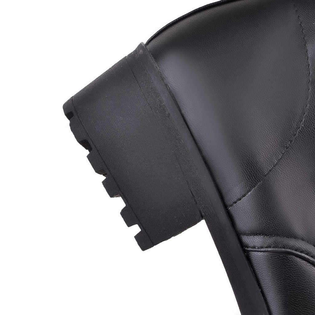 YOUYEDIAN 2019 รองเท้าบู๊ทรองเท้าส้นสูงกว่าเข่าบู๊ทส์สีดำหนัง Lace-Up รองเท้าผู้หญิง botas largas para mujer 8M3