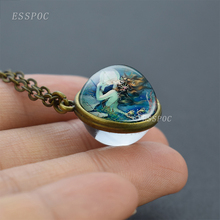 The Mermaids Pearl Glass Dome Pendant, Mermaid Pendant Necklace, Vintage Fairy Tale Art Picture Jewellery