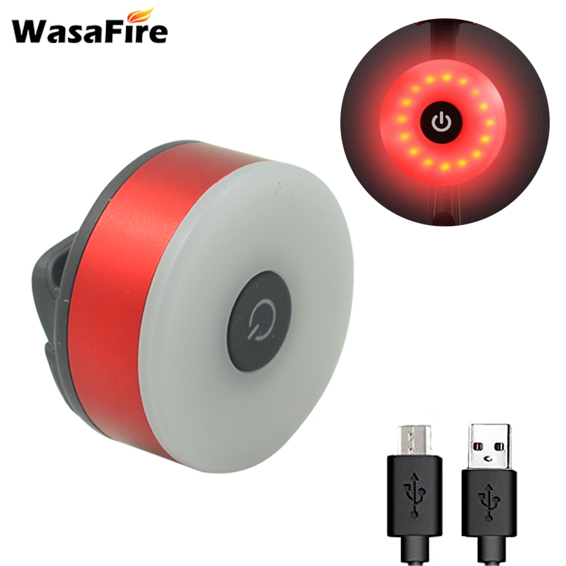 WasaFire Mini LED Bicycle Rear Back Light USB Cycling Bike Tail Flashing Lights Safety Warning Helmet Backpack Lamp