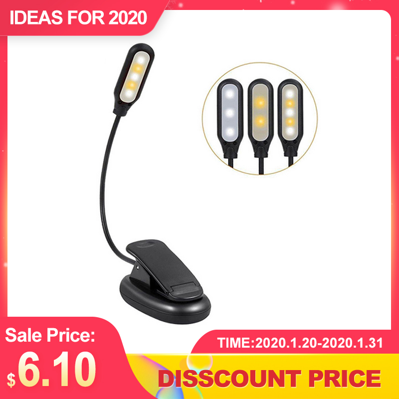 CLAITE 110LM Book Light USB Rechargeable Flexible 1W 5 LED Clip Reading Night Light 3 Brightness Modes Table Lamp