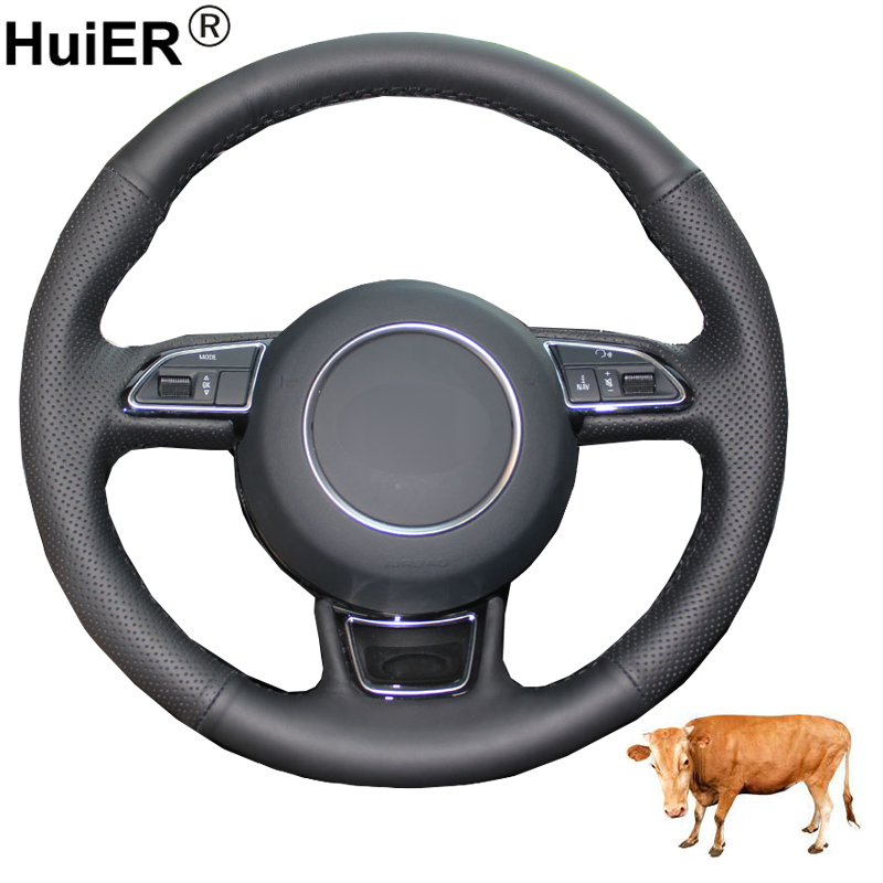 Hand Sewing Car Steering Wheel Cover Top Cow Leather For Audi A3 A4 A5 A6 A7 Allroad RS 7 2014-2015 S6 S7 2013-2018 S8 2013-2018