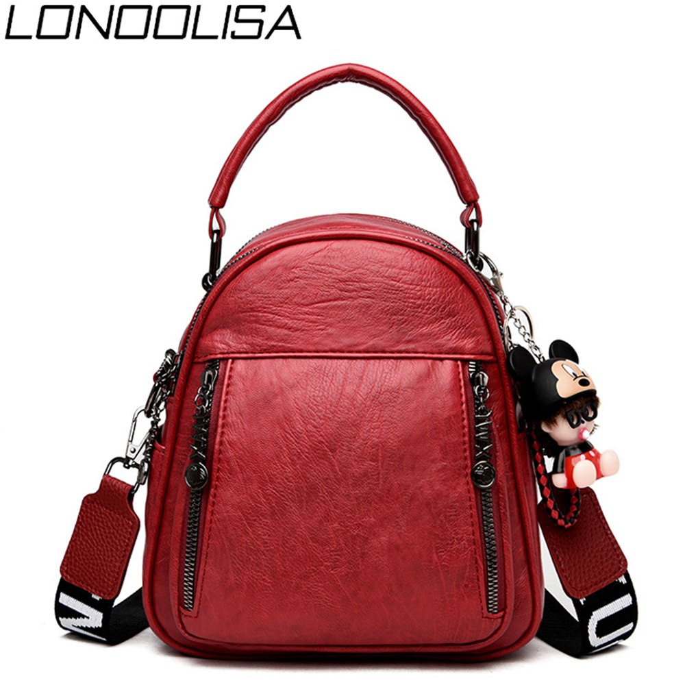 3 In 1 Casual Womens Soft Leather Mini Backpack Cartoon Pendant School Bags For Teenage Girls Solid Back Pack Mochila Feminina