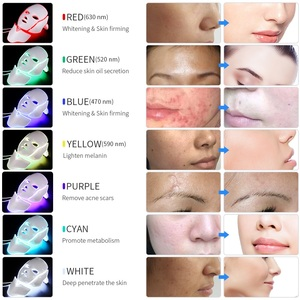 Image 3 - Masque de thérapie lumineuse à photons, LED 7 couleurs, soin de beauté anti rides, anti acné, avec rajeunissement et blanchiment de la peau du cou