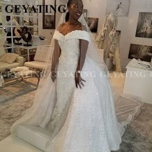 2020 Luxury Off Shoulder Lace Mermaid African Wedding Dress with Detachable Train Plus Size Backless Nigerian Women Bridal Gowns