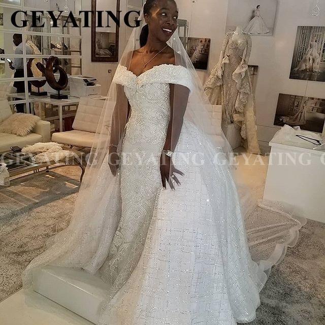 2020 luxus Off Schulter Spitze Meerjungfrau Afrikanische Hochzeit Kleid mit Abnehmbaren Zug Plus Größe Backless Nigerian Frauen Brautkleider