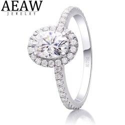 AEAW owalny krój 1.00 Carat 5x7mm DF kolor Moissanite diament pierścionek zaręczynowy efekt aureoli stałe prawdziwe 18K białe złoto Fine Jewelry dla kobiet
