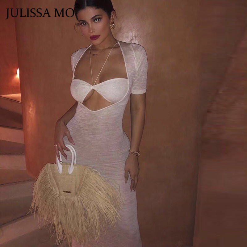 JULISSA MO Mesh <font><b>Transparent</b></font> <font><b>Sexy</b></font> Bodycon <font><b>Dress</b></font> Women 2 Piece Set Halter Bandage Summer Long <font><b>Dresses</b></font> 2020 <font><b>Night</b></font> Party Vestidos image