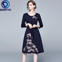 Stylish and Comfortable O-neck Midi Dress for Women Autumn Casual Boho Navy Blue Embroidery Dress Elegant Party Dresses Vestidos stylish scoop neck striped mesh spliced midi dress for women
