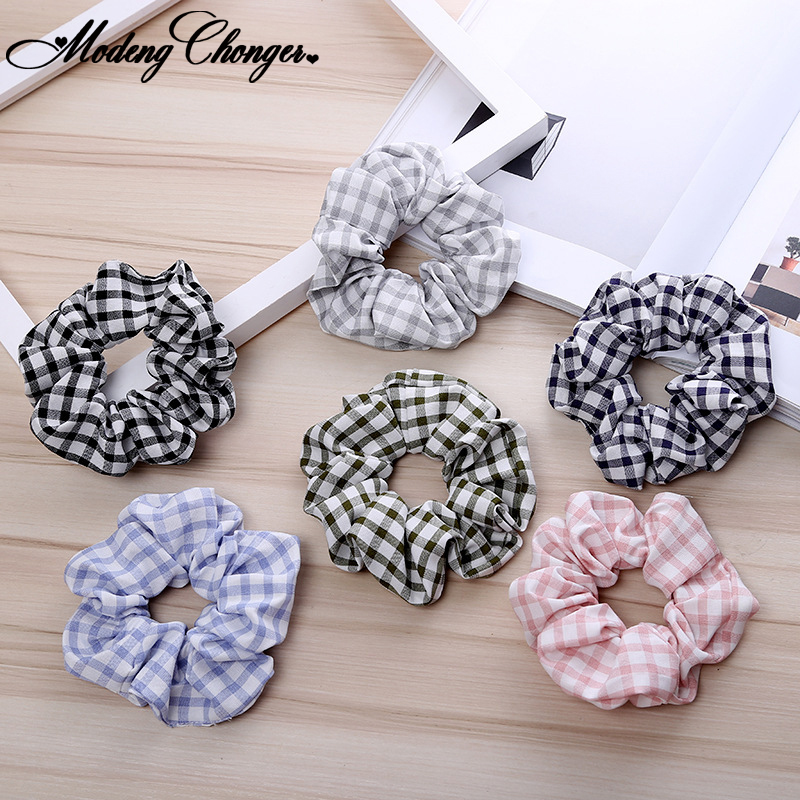 For Women Girls New Thousand Bird Plaid Hair Scrunchies Elastic Hair Rubber Bands Tie Hair Rope Ponytail Holder Hair Accessories