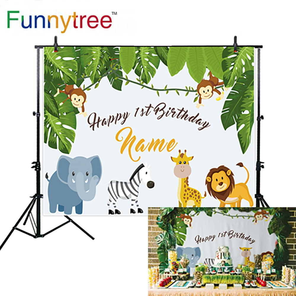 Funnytree backdrop for photographic studio animals nature leaves monkey tropical birthday professional background photocall