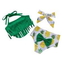 Купальник для девочки Двойка кисточкой купальники для девочек Фрукты Купальники с принтом+ повязка на голову, пляжные купальные наборы Купальники для малышей# LR3