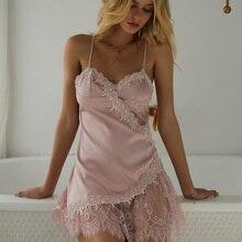 Kobieta lato seksowna bielizna sukienka piękny tył pokusa koszula nocna kobiety koronki kwiatowy cienki Hollow perspektywa nocna