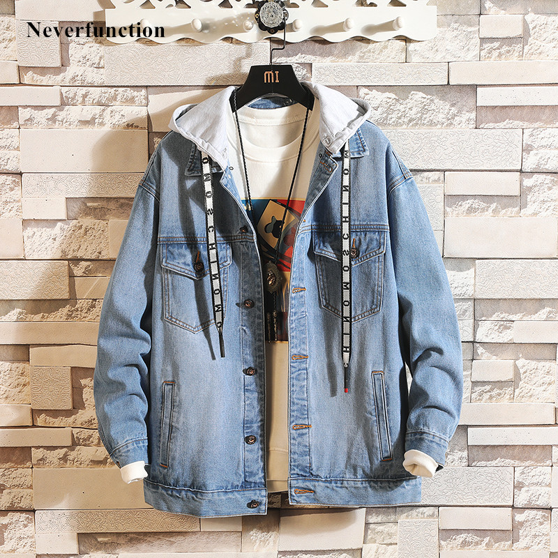 Men Fashion Streetwear Loose Blue Black Hooded Denim Jackets Male Hip Hop Solid Casual Cotton Jeans Jacket Coat Plus Size 4XL