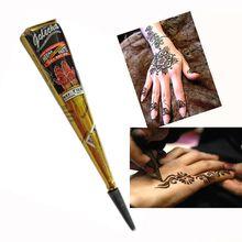 Cone Shaped Body Art Ink Tattoo Temporary Herbal Golecha Henna Black Brown White Paste Flash Paint Makeup Sexy Tattoo Cream 25g