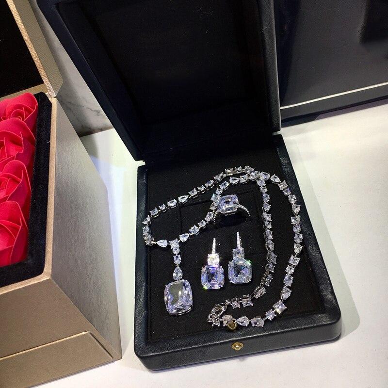 925 bijoux en argent Sterling élégant forme carrée collier en argent romantique coloré cristal gemme pierre pendentif Fine personnalisé bijoux - 5
