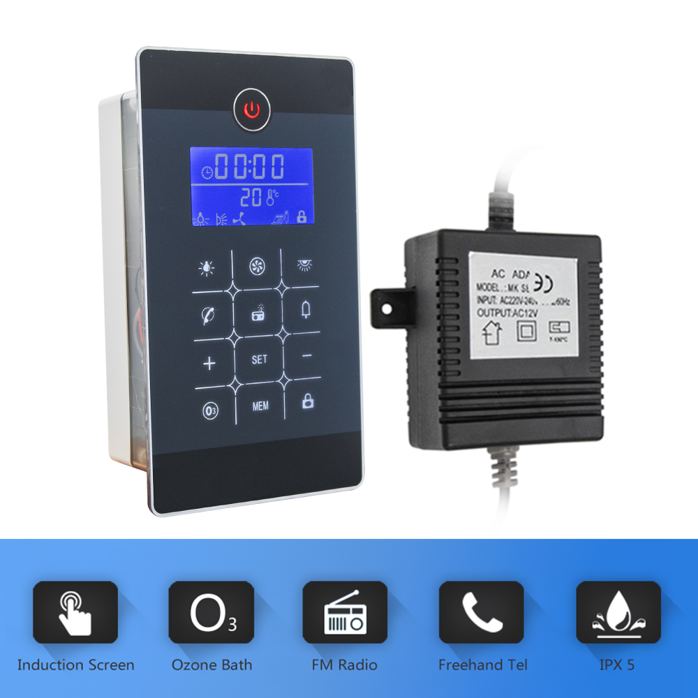 Black LCD Display FM Radio Shower Controller Kit with Control Panel Vent Fan Speaker Light Transformer Shower Room Accessory
