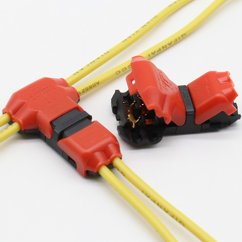 5pcs <font><b>2</b></font> <font><b>Pin</b></font> <font><b>2</b></font> Way dc/<font><b>ac</b></font> 300v 10a Universal Compact Wire Wiring <font><b>Connector</b></font> T SHAPE Conductor Terminal Block With Lever AWG 18-24 image