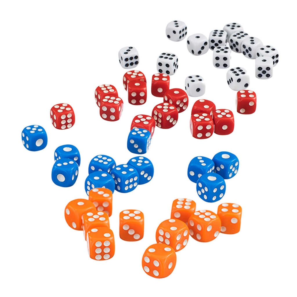 [Set Of 200pcs] 12mm Poly D6 Acrylic Dice Games For TRPG, MTG, Role Playing Game, Table Games (Orange + White + Red + Blue)