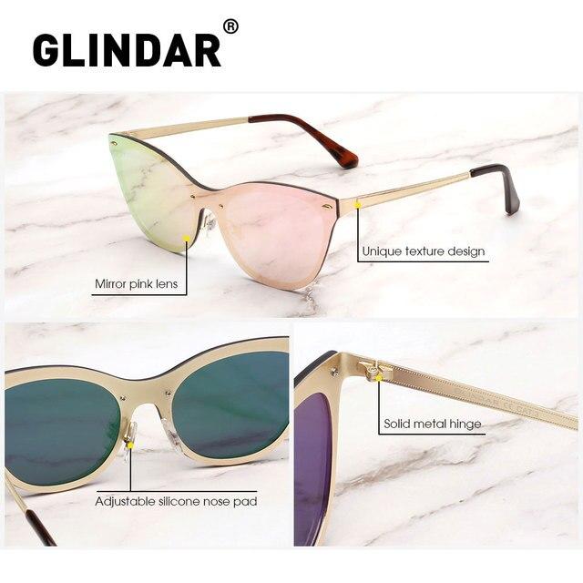 Bez oprawek okulary przeciwsłoneczne Cat Eye dla kobiet jednoczęściowe lustrzane okulary przeciwłoneczne odblaskowe odcienie zonnebril
