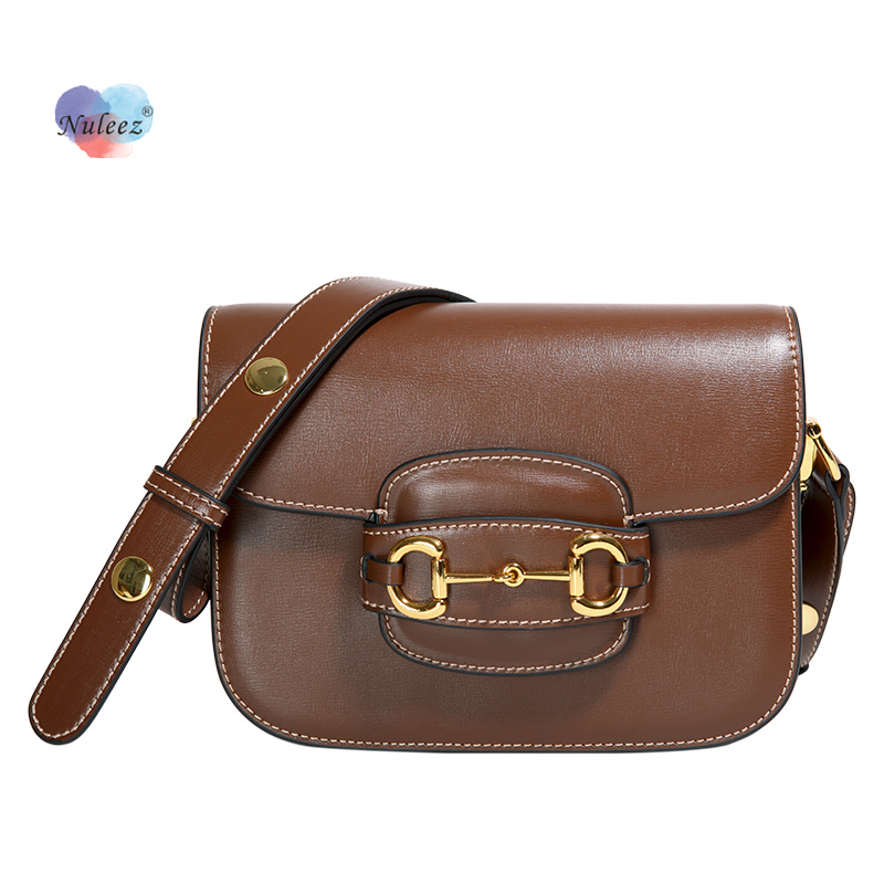 Nuleez Shoulder Bag Women Cowhide Leather Crossed-lock Decoration Flap Bag Lady Fashion It Bag