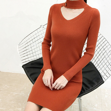Fashion Sweater Dress Korean Women V Neck Bodycon Woman Sweaters Dresses Vintage Thickened Knitted