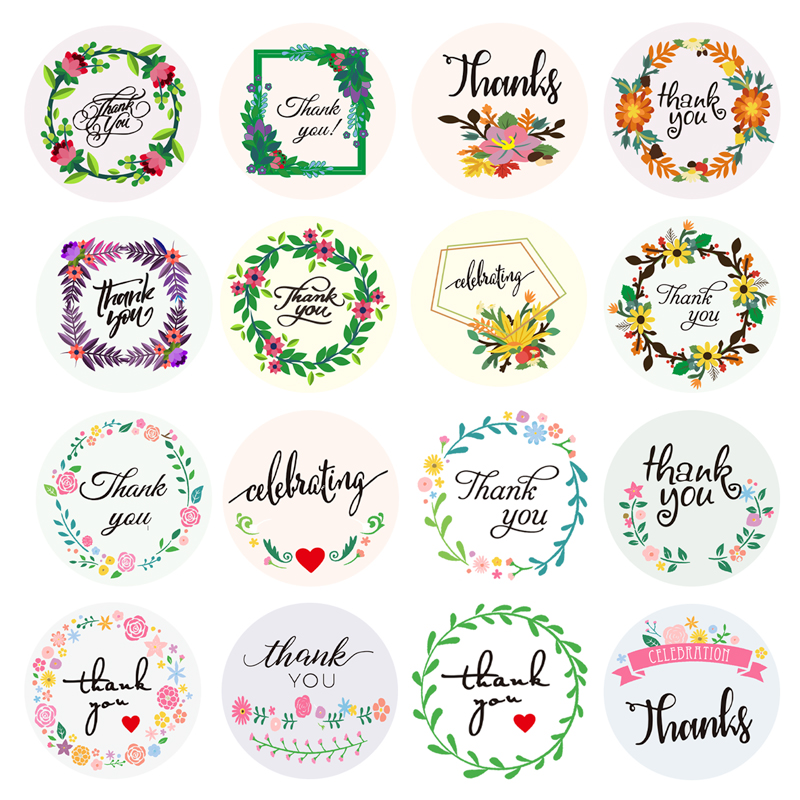 500 Labels Per Roll Thank You Stickers Round Flower Design Seal Labels Scrapbooking For Gift Decoration Stationery Sticker